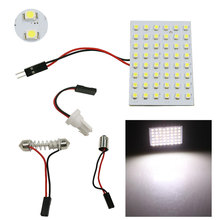 2PCS/Lot DC12V Car 48 SMD White LED Light Panel T10 BA9S 3528 Festoon Dome Map Interior Bulbs Car Reading Lamp Light