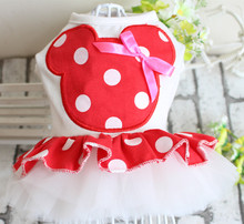 Cartoon Mickey Personality Dog Wedding Dress Tutu Pet Puppy Skirt Dresses Bowknot&Lace Design Dog Clothes 5 sizes Red Pink