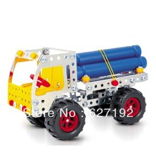 DIY Alloy Metal Stereo 3D Assembling Load Fir Wood Truck Car Model 168pcs Parts Educational toys(China)