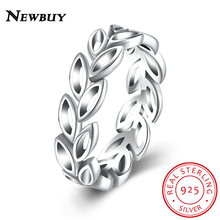 NEWBUY 2017 New Collection Authentic Laurel Wreath Laurel Leaves Ring 100% Fine 925 Sterling Silver Jewelry