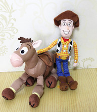 Free Shipping 2pcs/lot Toy story plush toys for children woody and Bullseye The Horse red star horse dolls kids gift  toys
