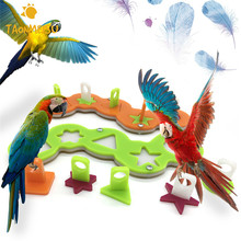 Pet Parrot Acrylic Puzzle Training Intellectual Development Toys Bite Toy Building Blocks Toys Pet Supplies Bird Toy Randomly(China)