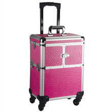 Brand Aluminum frame 4 wheels Trolley Bag Makeup Box Beauty Case Travel professional makeup Suitcase makeup Universal Luggage(China)
