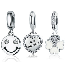 "Buy ""Just Married"" Heart Charm Smile Face Letter Flower Dangle 925 Sterling Silver Charms fit Women Charm Bracelets Jewelry Gift for $3.94 in AliExpress store"