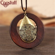 vintage woman Necklaces jewelry statement necklaces & pendants wooden pendant collares mujer choker necklace women Long Necklace
