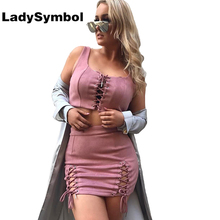 LadySymbol Faux Suede Lace Up Two Piece Set Dress Women Slim Casual Summer Bodycon Dress Sexy Club Elegant Short Party Dresses(China)