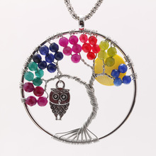 Handmade Silver Plated Tree of Life Pendant Necklaces beads Long Chain Owl Moon Necklaces For Women