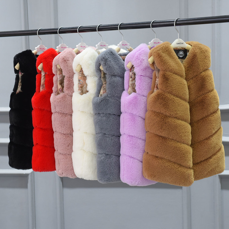 2017 Children Girl Winter Clothing Long Jacket Coat cotton Vest Girls Imiation Rabbit Fur Coat female thickening Waistcoat<br>
