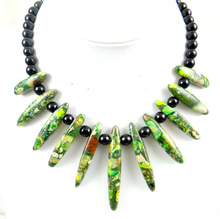 Beautiful Light green Sea Sediment stone Handmade Gem Jewellery Necklace  L3