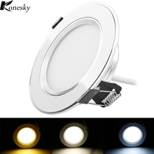 Konesky 3W 5W 7W 9W 3 Color LED Panel Down Light high power led downlights lamp led Recessed Ceiling Light Spotlight AC100-245V