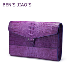 ZIOMEE women luxury genuine crocodile leather small clutch hand bag ladies fashion purple black business party alligator handbag