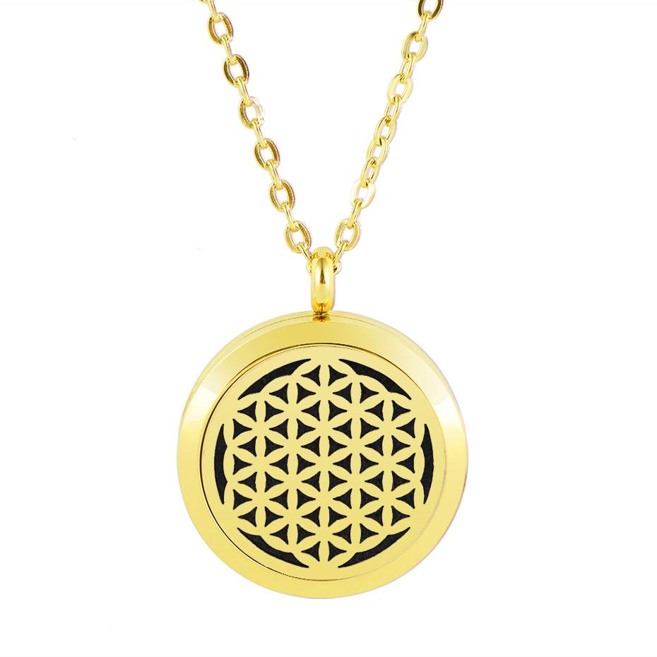 flower of life diffuser necklace silver gold rose gold 20mm 25mm 30mm locket jewelry (5)