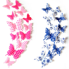 12Pcs/set 3d PVC Wall Stickers Butterflies DIY Home Blue White Wall Stickers Butterfly Fridge Magnet For Home Wall Decoration