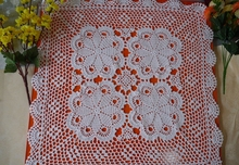 Handmade hook flowers cotton lace hollow square Crocheted Table Cloth / Many Uses placemat cover/ Vintage Europe Style Size 60cm(China)