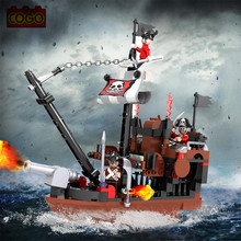 167PCS COGO Pirate Ship Model Building Brick Block Toys Educational DIY Set Boat Modeling Educational Toy For Children(China)