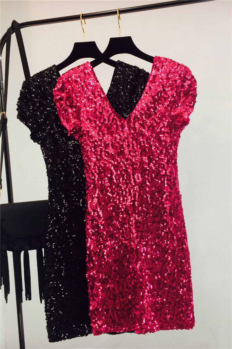 Sexy Sequin Mini Hip Dress Women Short Sleeve V Neck Shinny Beading Squined Night Club Dress Sparkly Cocktail Sexy Party Dresses 5
