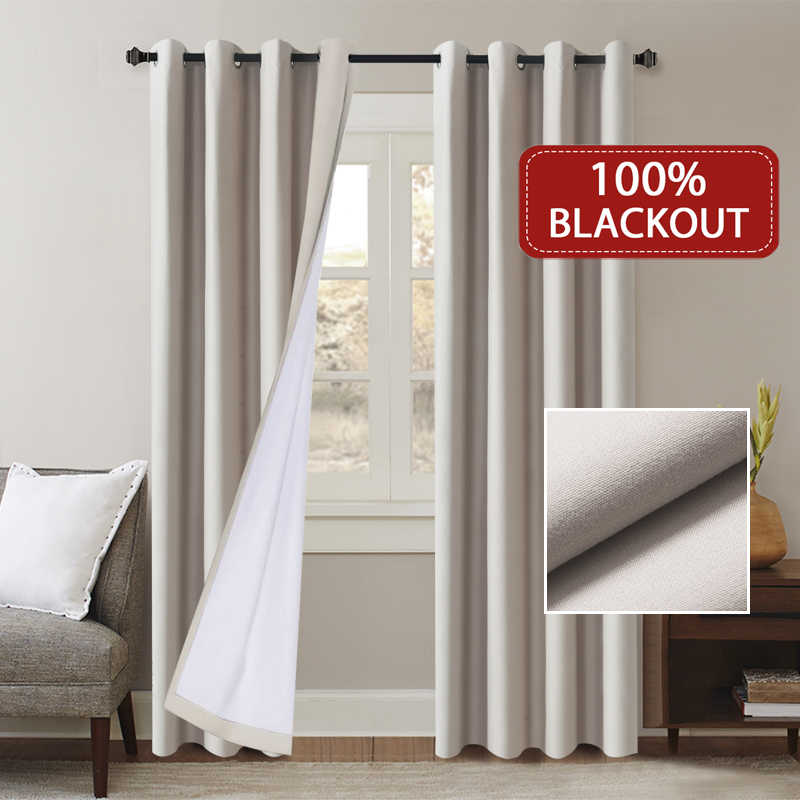100% Blackout Home Decor Curtain For Living Room Darpe Sanded Fabric Curtains for Bedroom Rideaux Window Customized