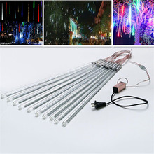 String lights, 2set 50cm10 Tubes Meteor Shower Rain LED Christmas Lights for Wedding Party Xmas Tree Decoration DC12V(China)