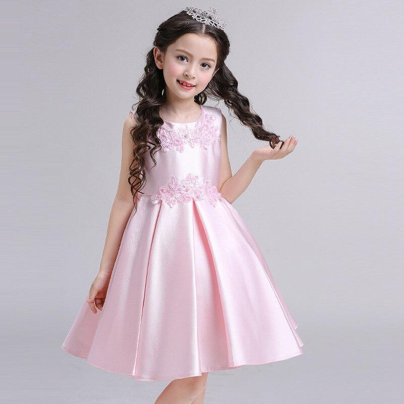 NEW SPRING/SUMMER kids girls beautiful satin dress sleeveless costumes flower girl princess party/wedding/performer/host dress<br>