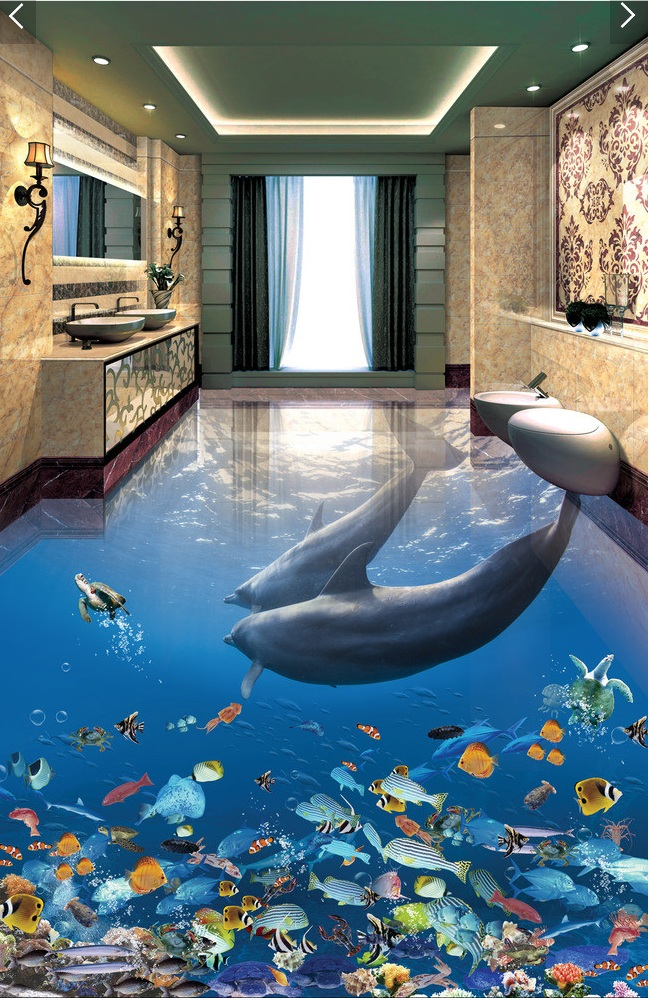 3 d pvc flooring custom wall pape Dolphins underwater world fish 3d bathroom flooring picture mural photo wallpaper for walls 3d<br>