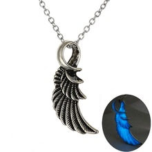 Antique Silver Noctilucence Luminous Women Necklace Glow In the Dark Necklace Dark Blue Angel Wing Pendant Necklace Female