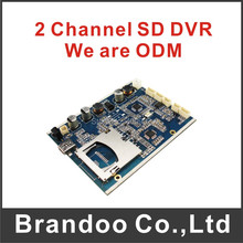 Low cost 2 channel CCTV DVR module with OEM service for free shipping(China)