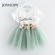 JOYHOPY Spring Outfits Baby clothes Girls Sets Fashion Flower Children Tracksuits CLothing Short Sleeve T shirts +Skirts suits(China)