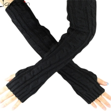 Hot Maketing 6 colors Women Knitted Long Gloves Arm Warmers Female Gloves Winter Autumn Fingerless Gloves Mitten H19(China)