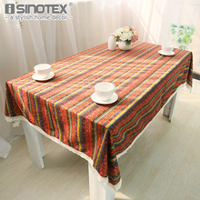 1pcs Luxury Bohemia Tablecloth National Wind Cotton Linen Lace Spliced Table Cover Dustproof Home Party Wedding Table Cloth(China)