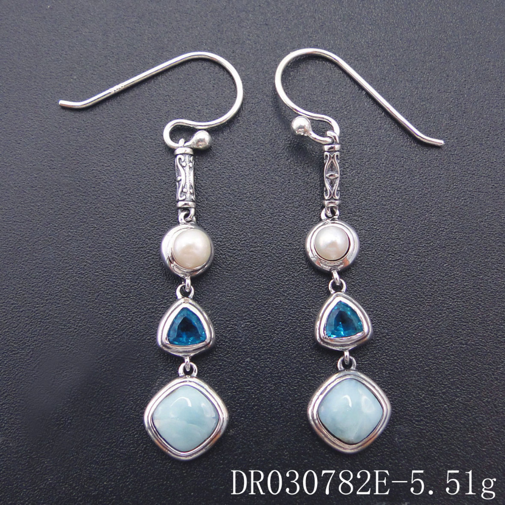 Real Natural Larimar Earring Fine Jewelry Dangle Earring 925 Sterling Silver Topaz Jewelry Long Drop Earrings for Women Earring