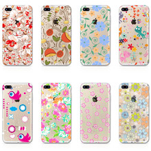 Phone Cases+Dust plug For iPhone 7 6 6S 5 5S SE 7Plus 6sPlus 4S Phone Case Flower Cover Transparent Soft Silicon Phone Bag