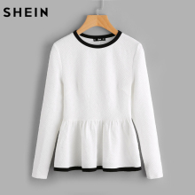 SHEIN Contrast Binding Textured Peplum Shirt White Women Tops Blouses Autumn Long Sleeve Elegant Fall 2017 Fashion Blouse(China)