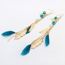 Summer Style Elegant Bohemian Vintage Feather Dangle Earring Accessories Leaves Drop Hanging Earrings Long Earring Women's Gifts(China)