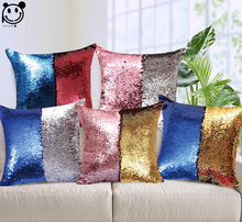 PEIYUAN Magical Throw Pillowcase Color Changing Reversible Pillow Cover DIY Mermaid Blue Gold Pink Silver Sequin Cushion Cover(China)