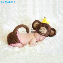 Cutyome New 2017 Crochet Costume Baby Handmade Knitted Newborn Props For Photography Cartoon Monkey Hat+pants Set Accessories