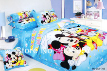light blue mickey minnie printed duvet cover twin full queen size 100% cotton bedding sets baby girls kids bed linens 3pcs 4pcs(China)