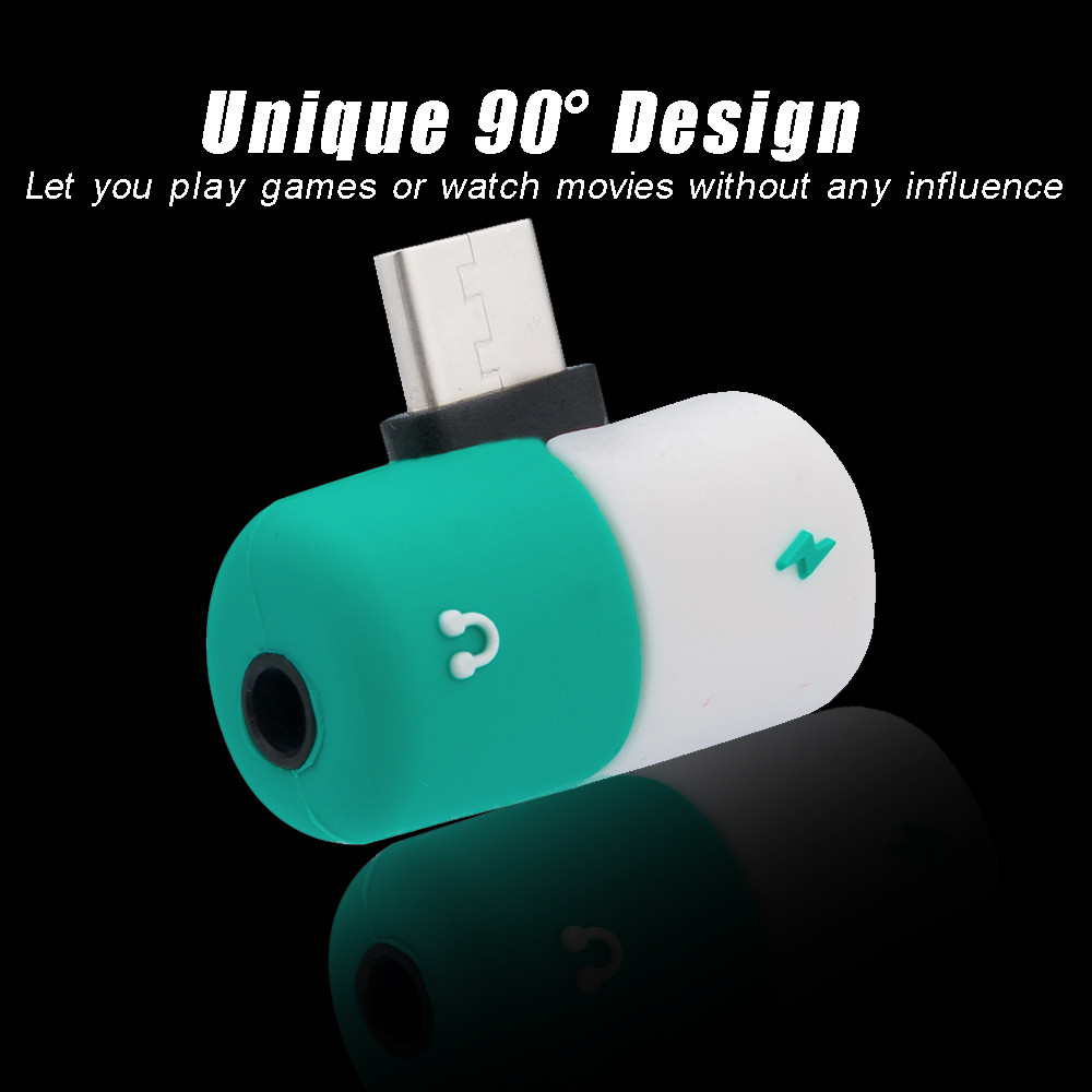 Capsule Pill 2 In 1 Earphone Accessories Charging Cable type c otg usb c to 3.5mm adapter Headphone Audio charge splitter Ear