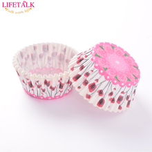 Factory New Arrival 1000pcs/lot Pink Rose Design Wedding Cake Decorating Greaseproof Paper Cupcake Liners Christmas Baking Tools(China)