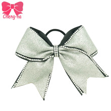 "Fashion 7"" Silver Glitter& Rhinestone Cheer Bow With Elastic Band Bling Cheerleading Bows Handmade Hair Accessories 3Pcs/lot"