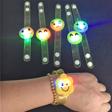 12pcs/lots birthday party decorations kids smile glow wrist bracelet baby shower favors for boy girl led bangle(China)