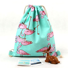 9 Styles Girls Shoulder Bags Women Canvas/ Cotton Backpack Bag Shoe Travel Pouch Portable Drawstring Storage Bags(China)