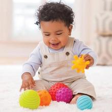 Infant toys 4Pcs/6Pcs/Set Baby Ball Toys Sounding Colorful Child touch hand ball toy baby Learning Grasping soft ball Kids Gift(China)