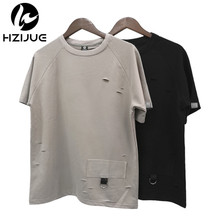 Buy HZIJUE 2018 Kanye style Fashion Summer Hip Hop pure cotton T Shirt Hole Clothes Swag Tshirt Homme Shirts Tyga Terry T Shirts top for $12.25 in AliExpress store