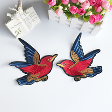 1Pair of Flying Bird Embroidered Patches Sewing On Applique Cute Fabric Patch Clothes Shoes and Bags DIY Decoration Patches