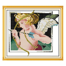 Joy Sunday counted cross stitch kits Cupid angel baby DMC14CT11CT fabric babyroom livingroom hotel deco painting  factory sale