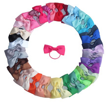 3 Inch Hair bow WITH Elastic bands Classical bow Ponytail bows Pony Tail Holder Infant Baby Toddler Girls hair bow 40 pcs/lot