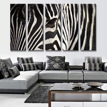5 Pcs/set Animal Zebra Canvas Prints Painting Modern Classical Black and White Zebra Face Wall Art for Living Room Decor