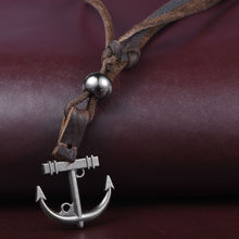 Buy 5pcs/lot Jewellery Mens Womens Vintage Anchor Pendant Necklace Adjustable Punk Genuine Leather Chain, Colour Brown Silver for $11.09 in AliExpress store