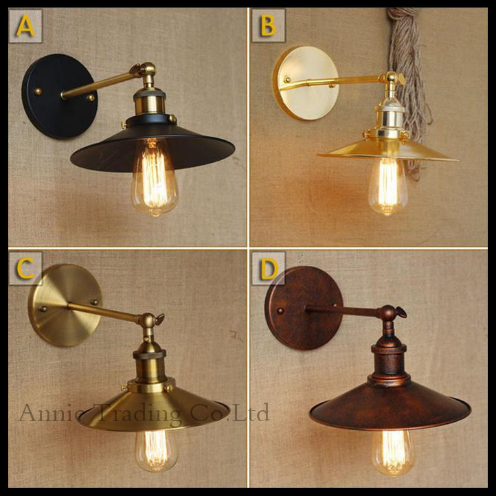 AC100-240 Wall sconces lamps gold/Rustic nostalgic villa church aisle umbrella decorative wall light sconce fixture<br>