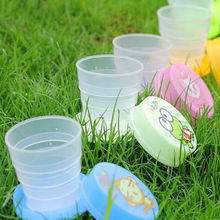 Hot Sale free shipping Boys girls Creative Cartoon Telescopic Shaped Cup Portable Folding water bottle Travel cups bottle Cups